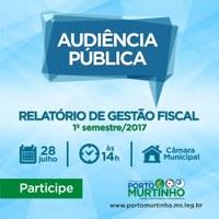Câmara Municipal convida a todos para participar da Audiência Pública visando tratar do Relatório de Gestão Fiscal do 1º Semestre de 2017