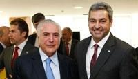 Marito Abdo diz a Temer que quer mais quatro pontes ligando Brasil e Paraguai.